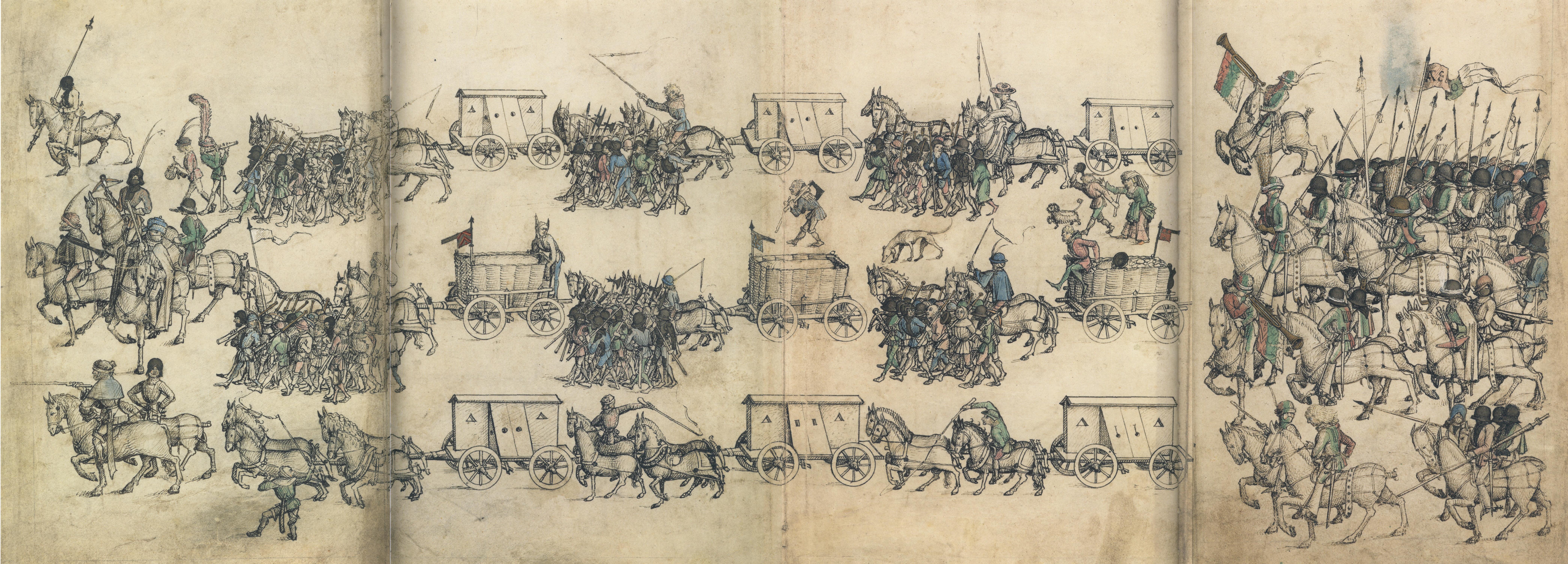 Heerzug aus dem sog. Wolfegger Hausbuch um 1474